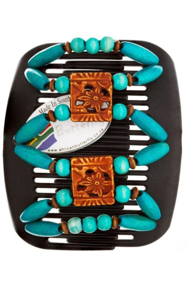 Интересные заколки для волос African Butterfly Dupla 003 на коричневых гребнях