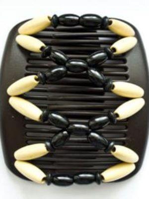 Заколка двойной гребень African Butterfly Beada 003 коричневая