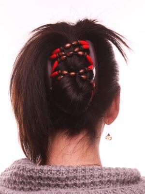 Заколка гребень для волос African Butterfly Beada 008 коричневая