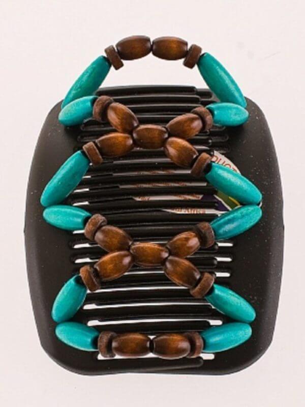 Украшение для головы African Butterfly Beada009 на чёрном гребне.