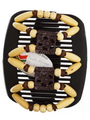 Модные заколки купить в интернет магазине - African Butterfly Dupla 001 на коричневом гребне для шатенок
