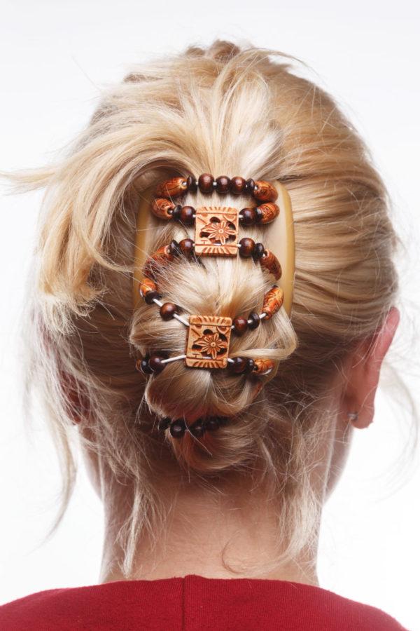Украшение для волос купить African ButterflyDupla 008 на бежевом гребне