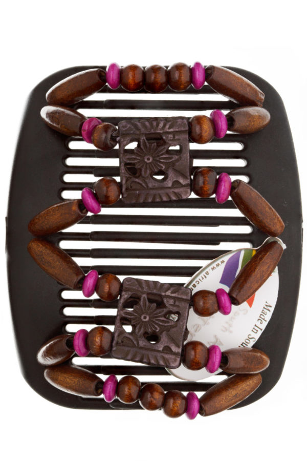 Заколки купить African Butterfly Dupla 009 на коричневом гребне для шатенок