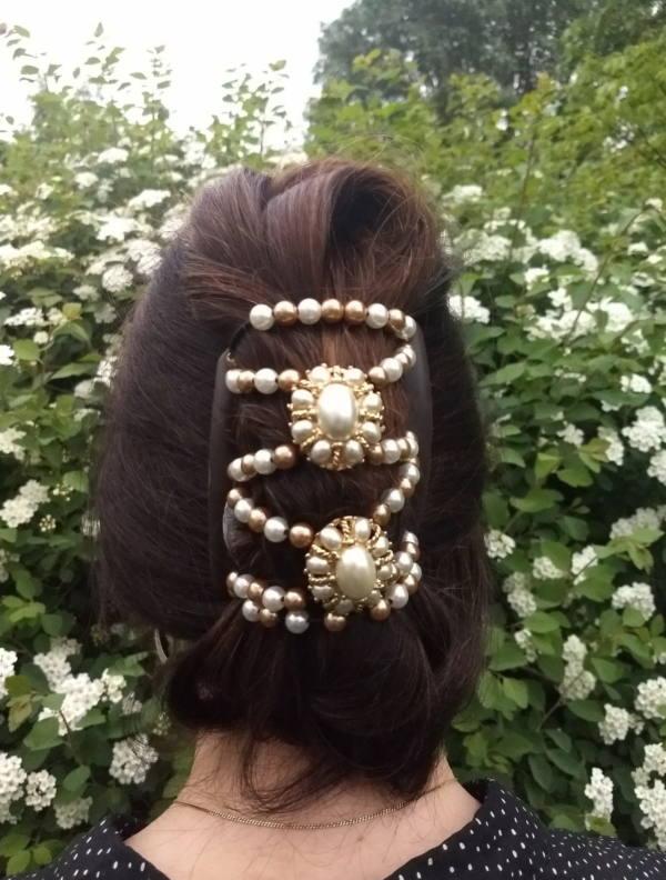 Элитные заколки с жемчугом Африканская бабочка FreshWater Pearls
