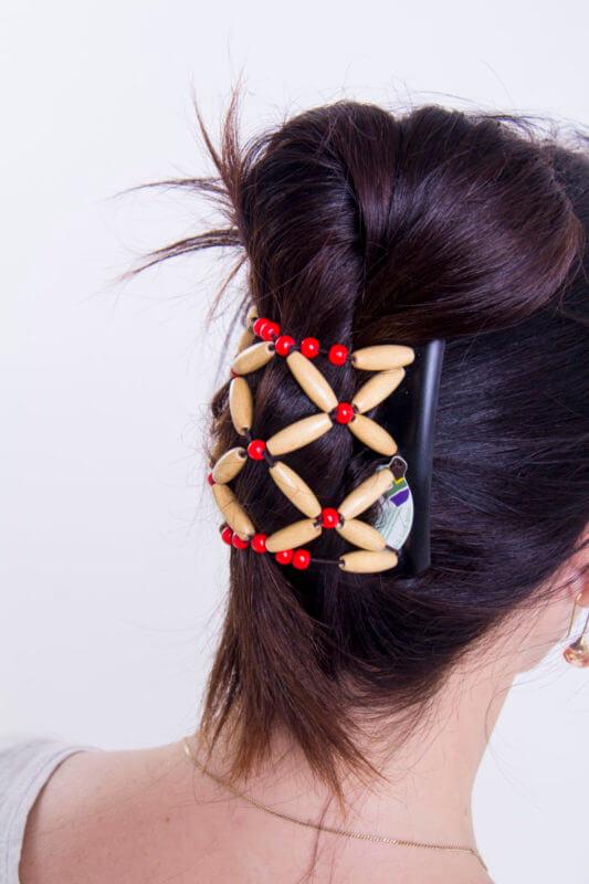 Заколки для волос купить African Butterfly Ndebele 001 на коричневом гребне