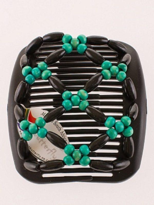 Гребень для волос African Butterfly Ndbele 003 на черном гребне.