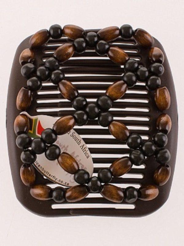 Заколки African Butterfly Ndebele 004 на коричневом гребне для шатенок