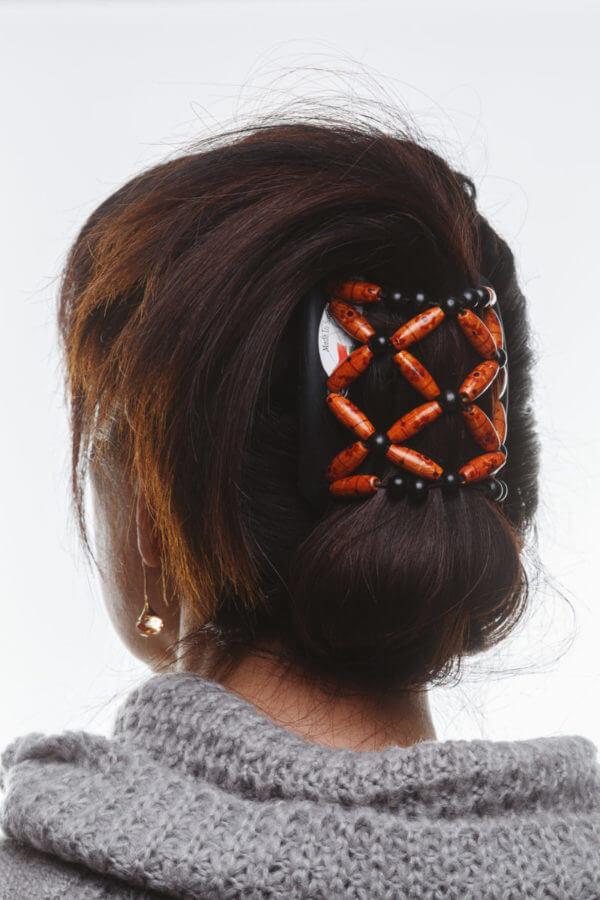 Аксессуары для волос African Butterfly Ndebele006 на коричневом гребне