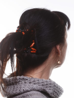 Украшение для волос African Butterfly Ndebele 006 на черном гребне для брюнеток