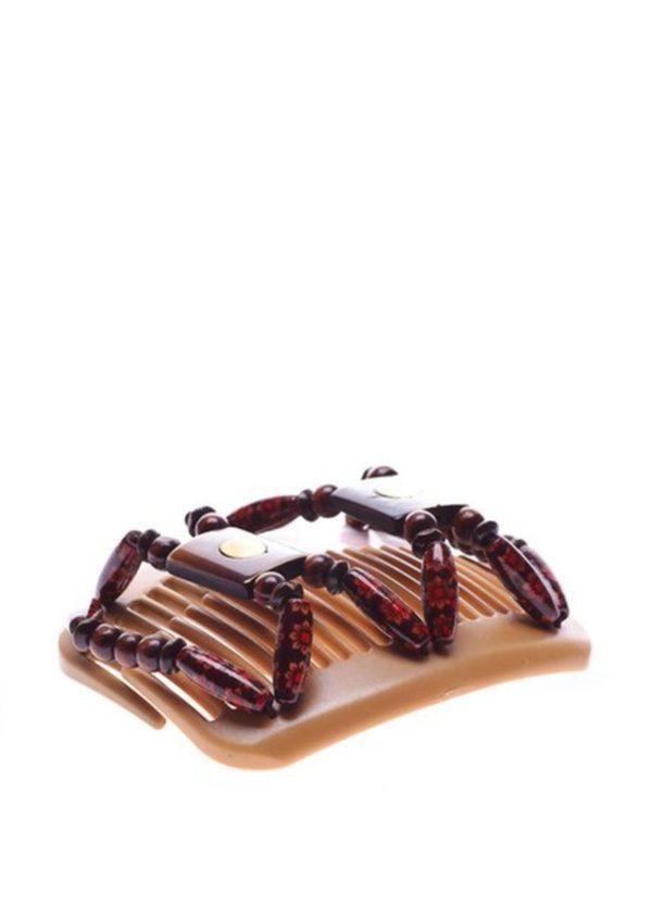 Заколки для пучка African Butterfly Stones and Bones 001 на бежевом гребне