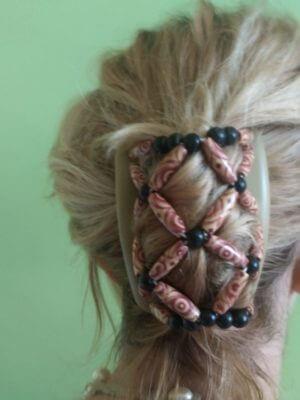 Купить заколки для волос African Butterfly Ndebele 006 беж.