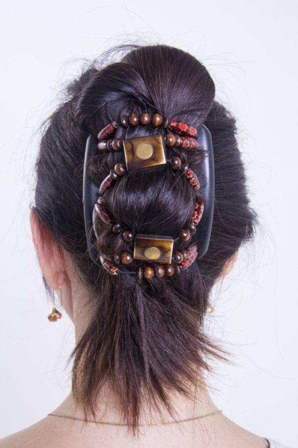 Украшения для головы купить African Butterfly Stones&Bones001на коричневом гребне.